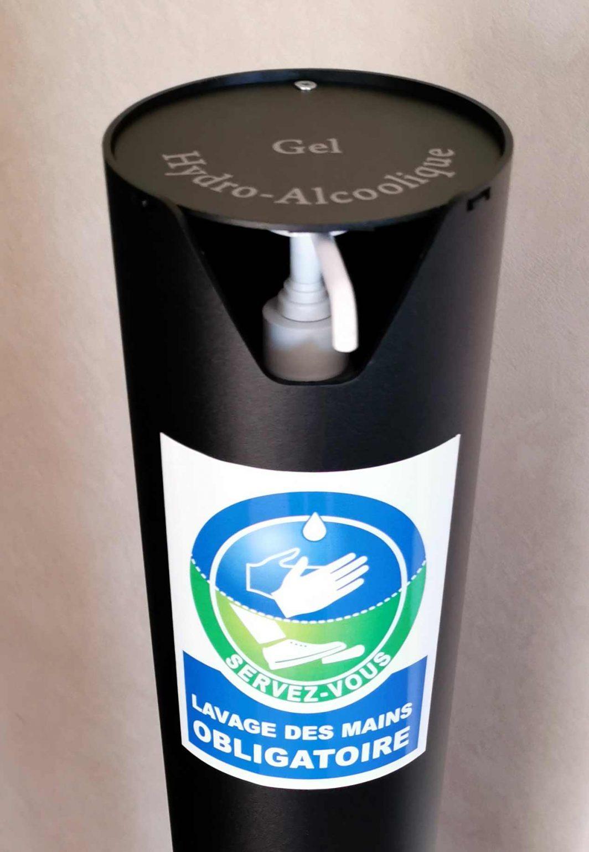 Decorpeint distributeur de gel hydroalcoolique sur pied autocollant